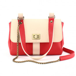Sac femme cuir rouge et nude, made in France