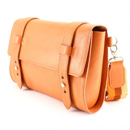 Sac-pochette en cuir orange