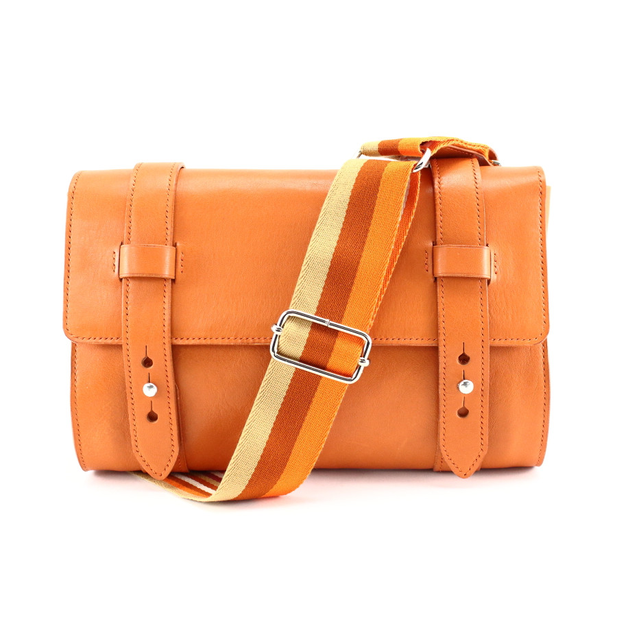 Sacoche en cuir orange, made in France