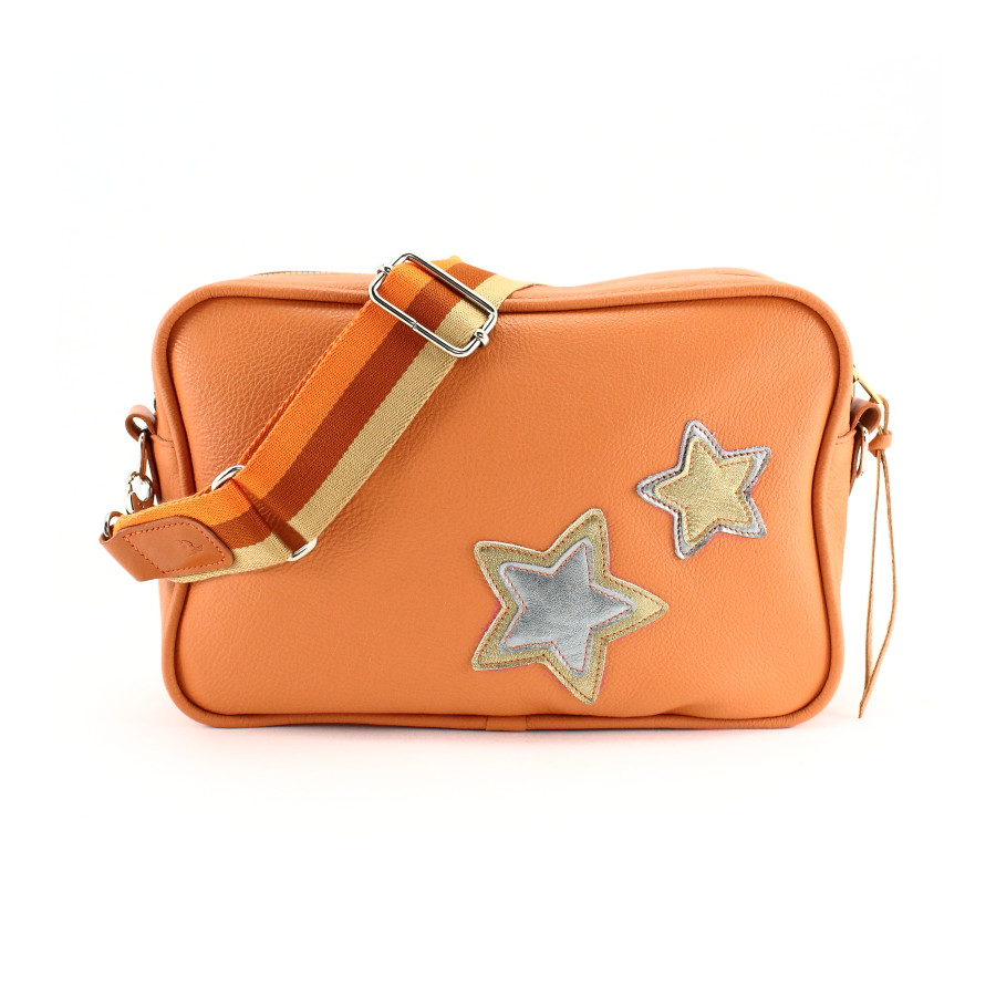 "Sac ""camera-bag"" original, en cuir orange"