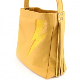 Sac hobo medium, cuir jaune moutarde, brodé