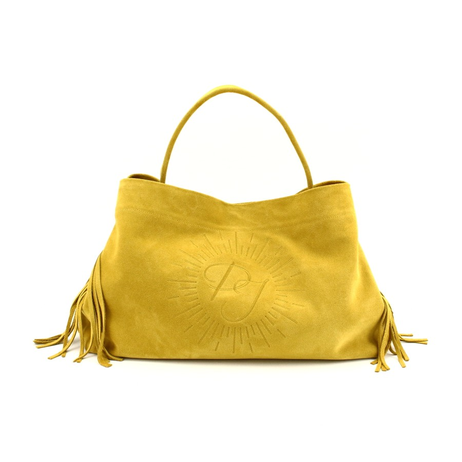 photos officielles eda01 ea3a5 Grand sac original sur-mesure en cuir jaune, brodé de vos initiales !
