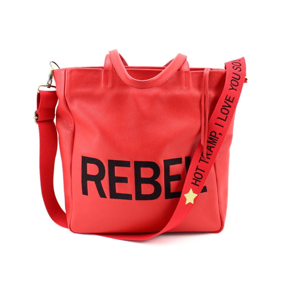 "Sac cabas ""rock"" en cuir rouge grainé, brodé REBEL"