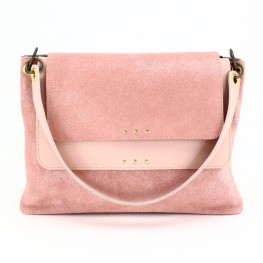 Sac à main double compartiment en cuir nude pailleté